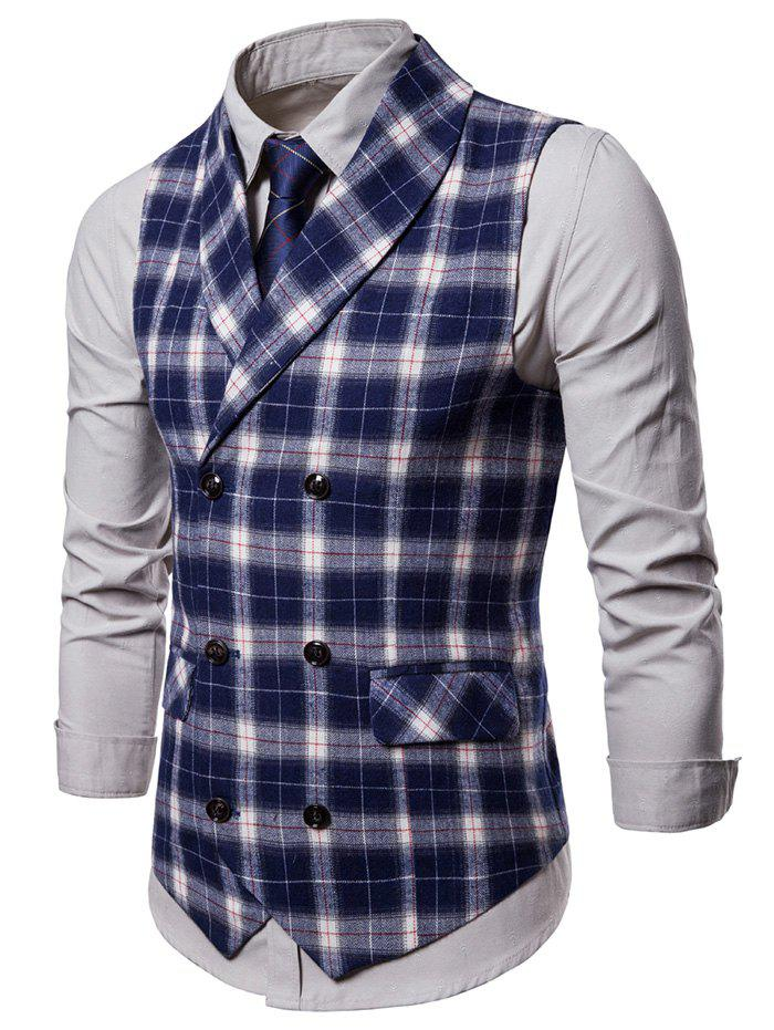 Store Double Breasted Back Belt Plaid Waistcoat