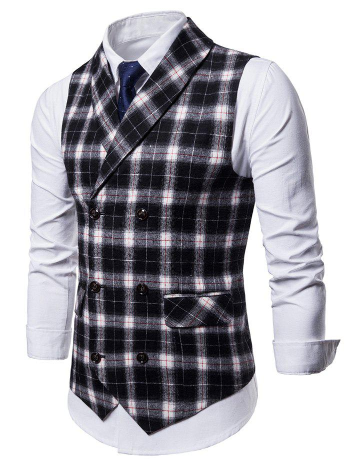Cheap Double Breasted Back Belt Plaid Waistcoat