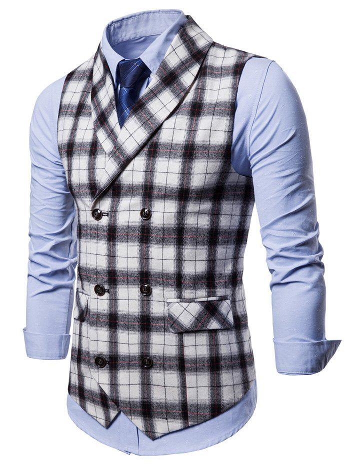 Fashion Double Breasted Back Belt Plaid Waistcoat