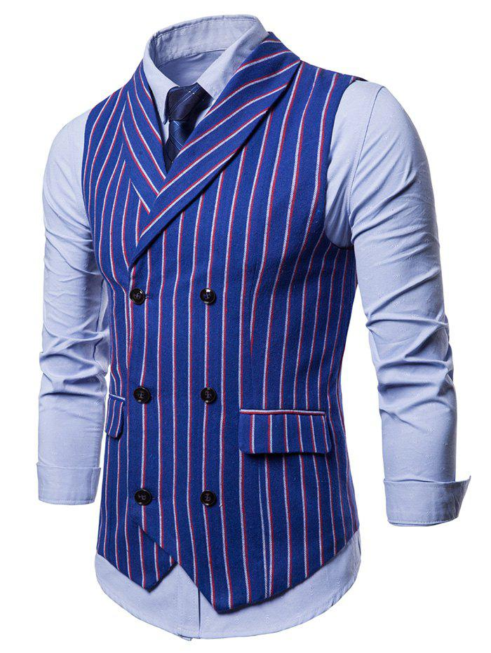Sale Double Breasted Shawl Collar Striped Waistcoat