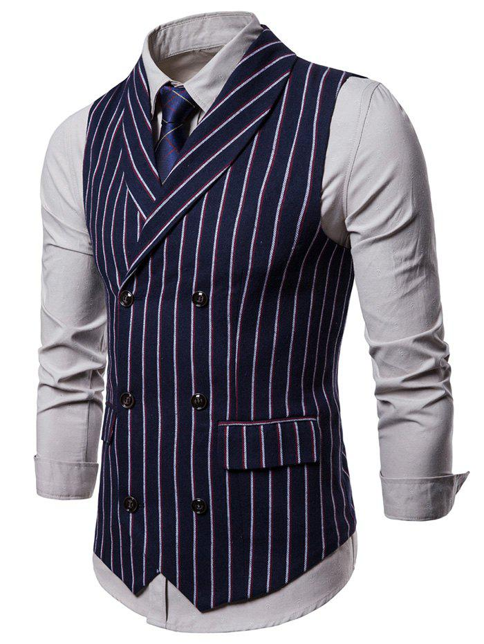 Fancy Double Breasted Shawl Collar Striped Waistcoat