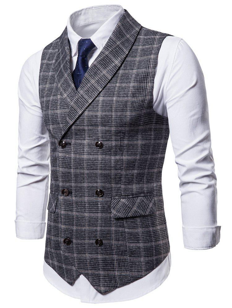 Cheap Double Breasted Shawl Collar Plaid Waistcoat