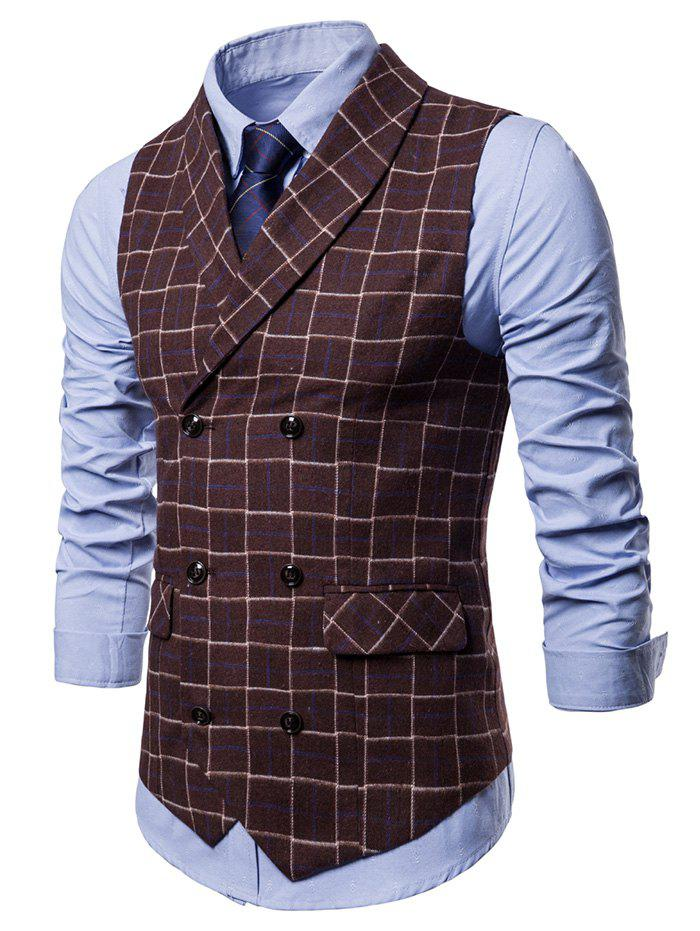 Hot Double Breasted Shawl Collar Checked Waistcoat