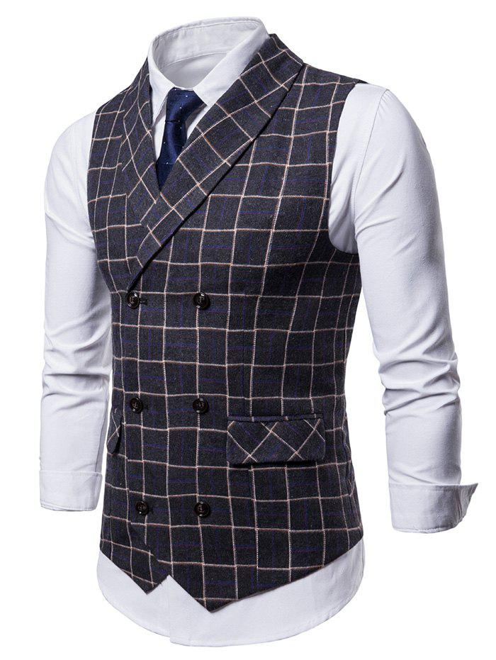 Cheap Double Breasted Shawl Collar Checked Waistcoat