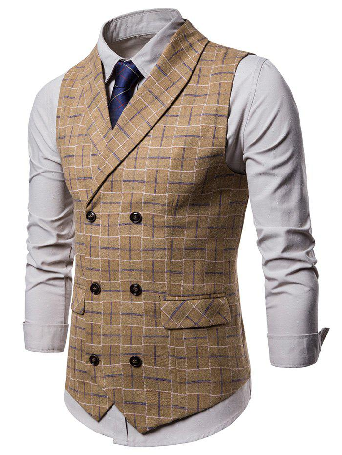 Best Double Breasted Shawl Collar Checked Waistcoat