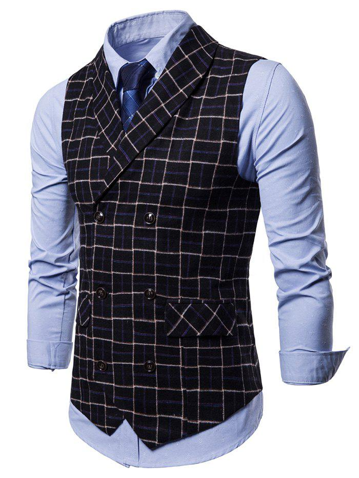 New Double Breasted Shawl Collar Checked Waistcoat