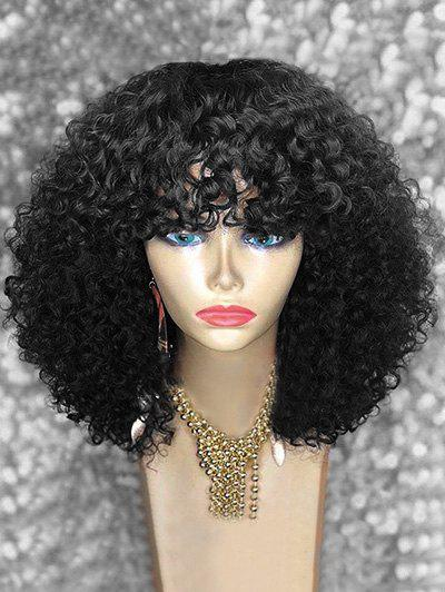 New Full Bang Medium Afro Kinky Curly Synthetic Wig