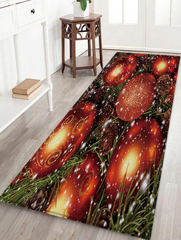 Affordable Christmas Balls Pattern Water Absorption Area Rug