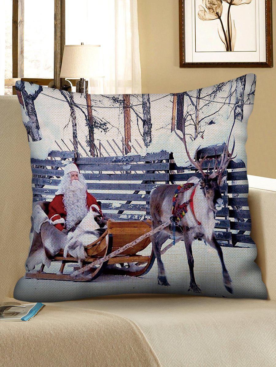 Fashion Christmas Elk Sleigh Pattern Decorative Sofa Linen Pillowcase