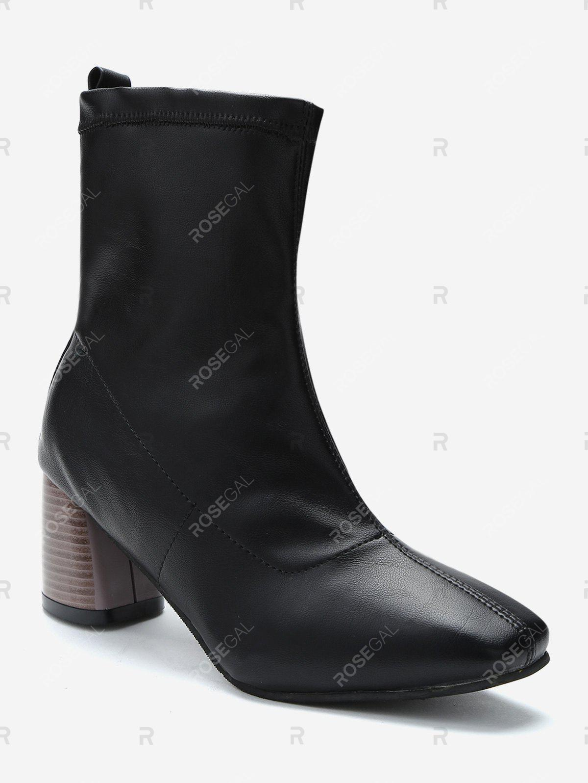 Unique Stacked Heel PU Leather Ankle Boots