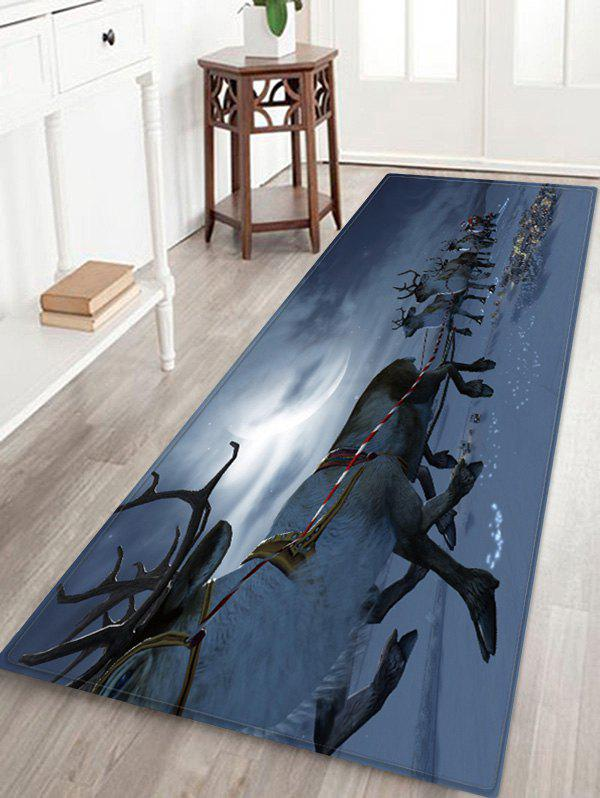 Unique Christmas Elk Sledge Pattern Water Absorption Area Rug