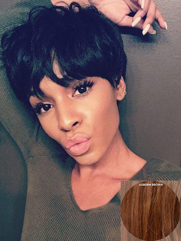 Outfit Short Inclined Bang Natural Straight Pixie Human Hair Wig