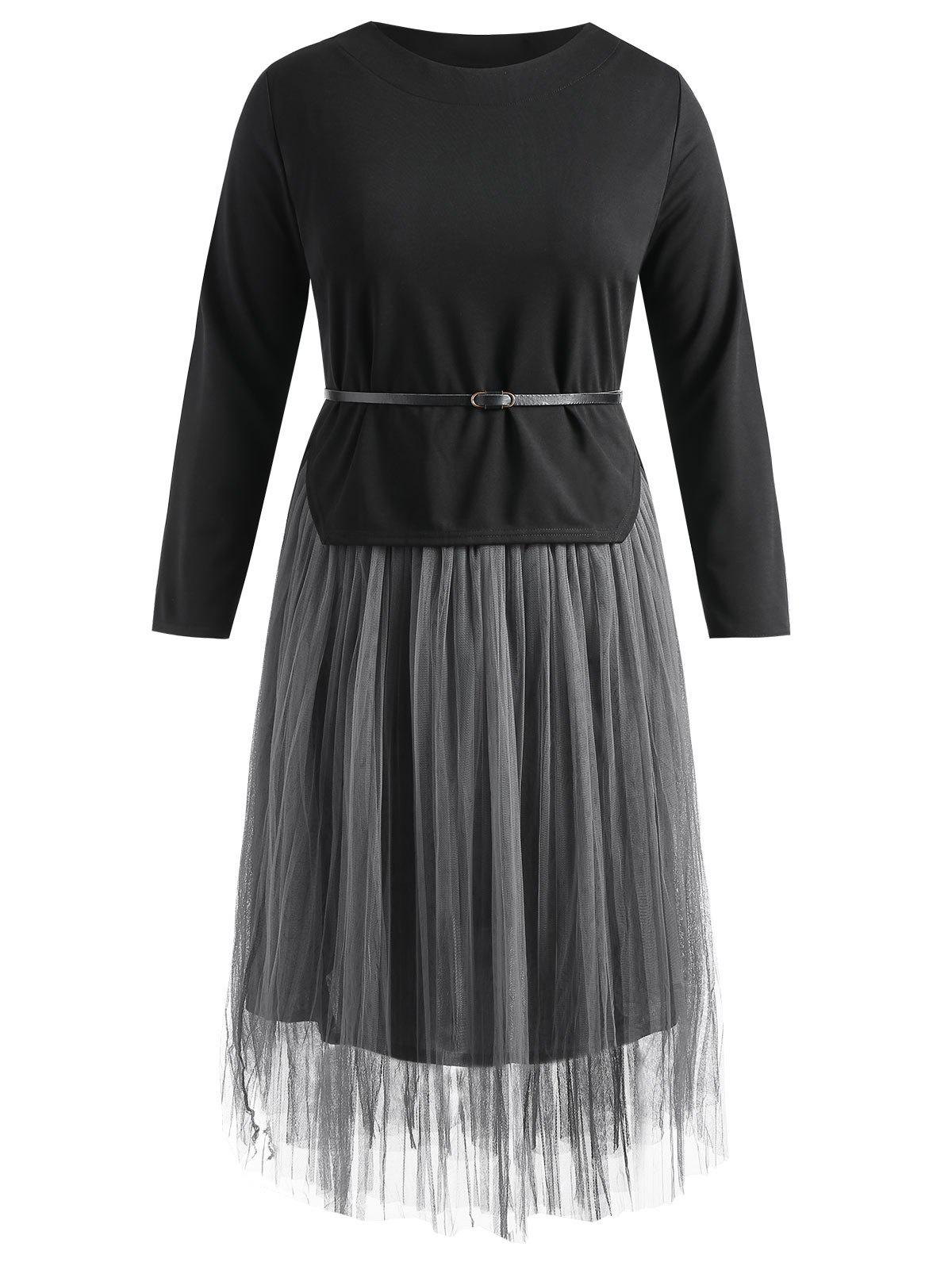 Trendy Belted Asymmetrical Top and Long Mesh Skirt