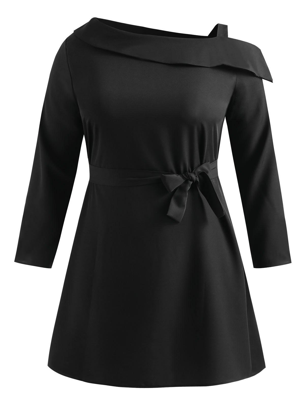 Best Plus Size Skew Neck Belted Dress