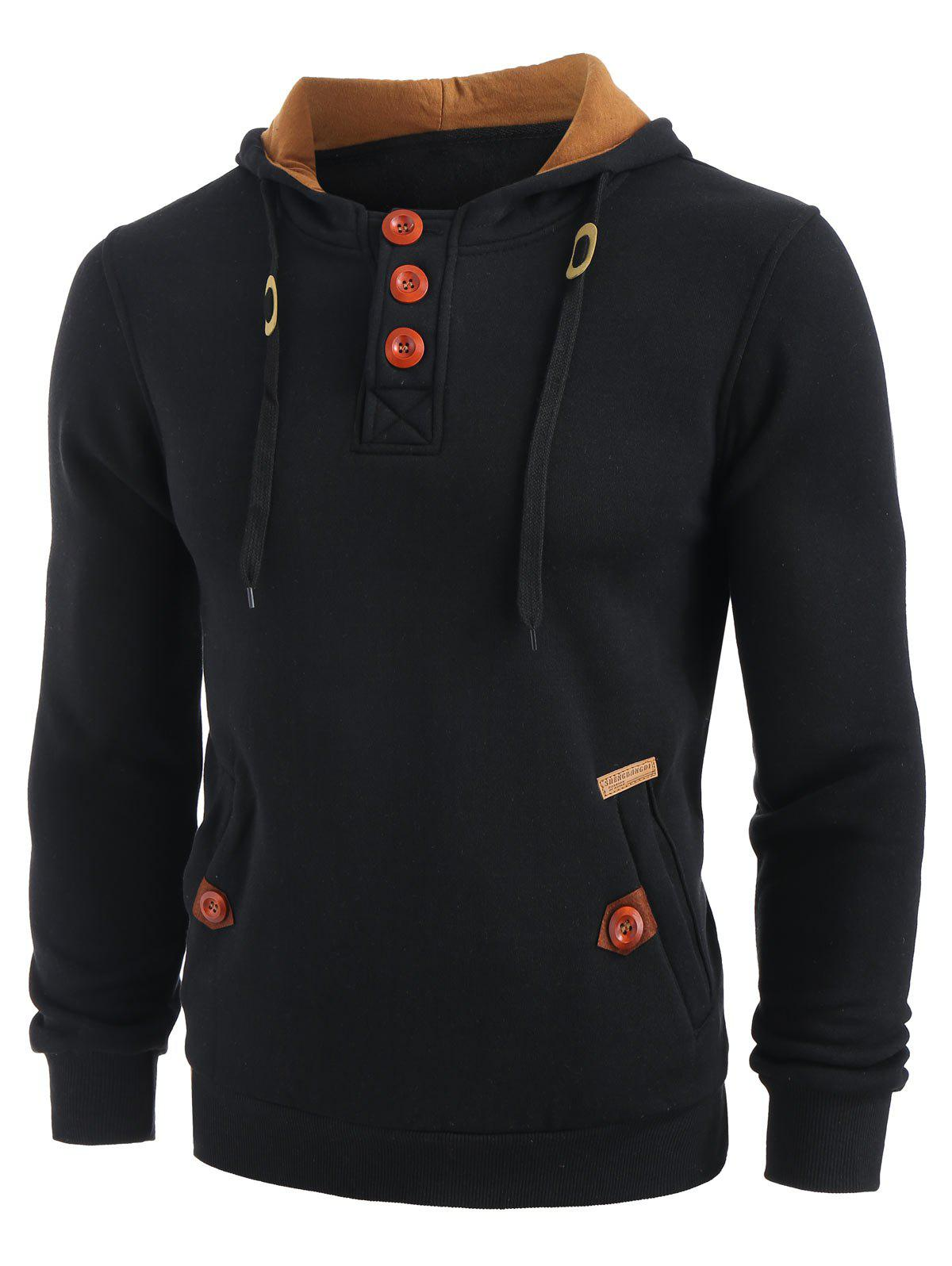 Sweat à Capuche en Blocs de Couleurs à Demi-Zip à Cordon Noir L