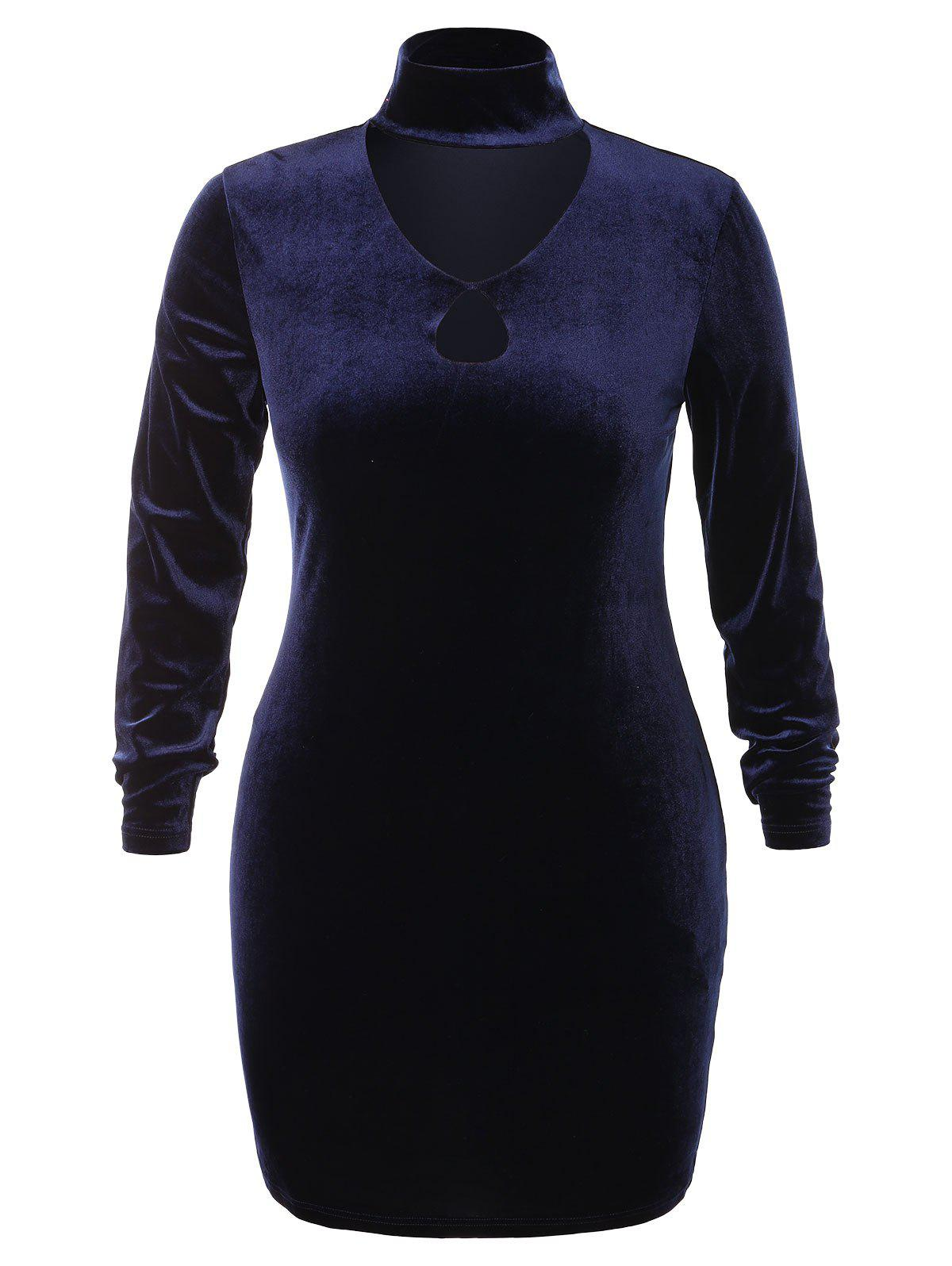 Affordable Plus Size High Neck Cut Out Velvet Dress