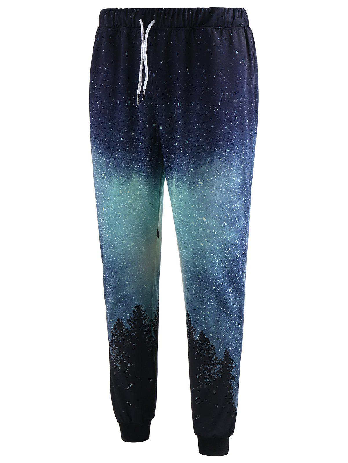 New Drawstring Waist Tree Print Jogger Pants