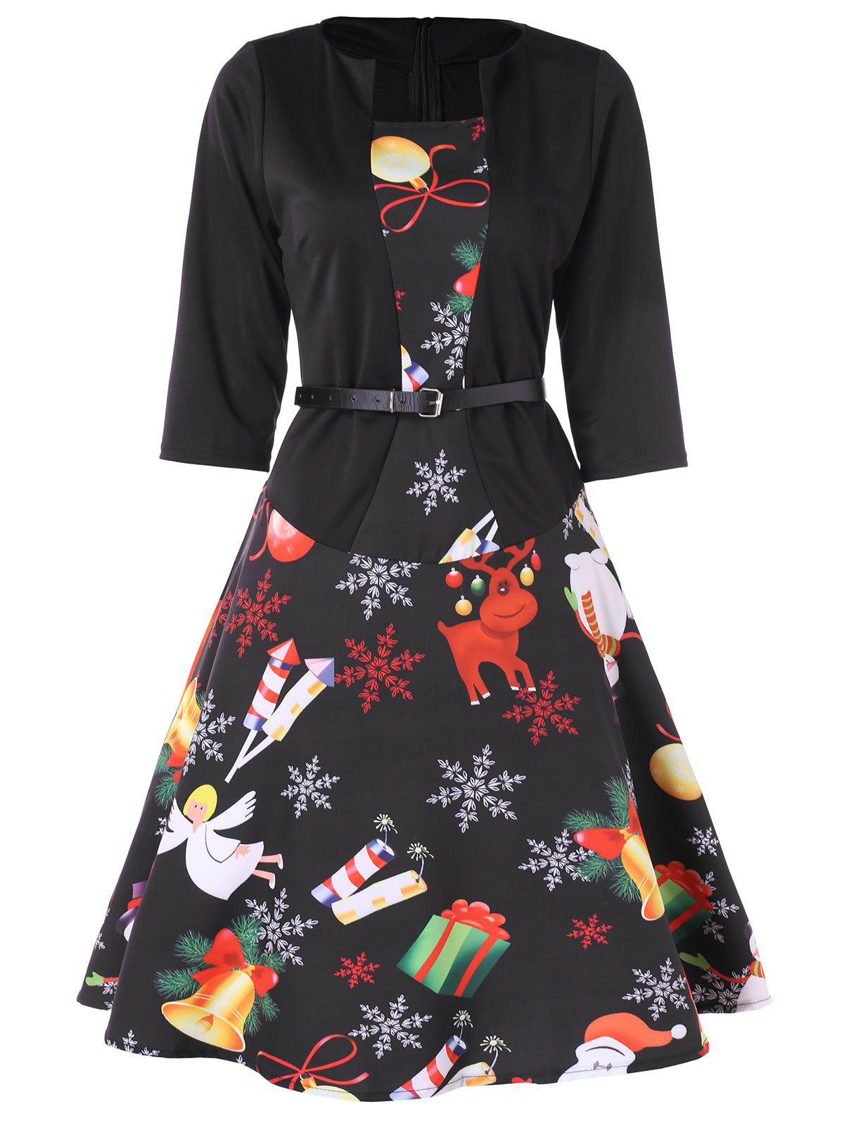 Chic Christmas Print Belted Flare Dress