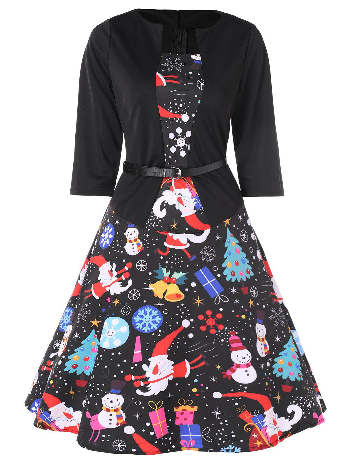 Fancy Christmas Snowman Print A Line Dress