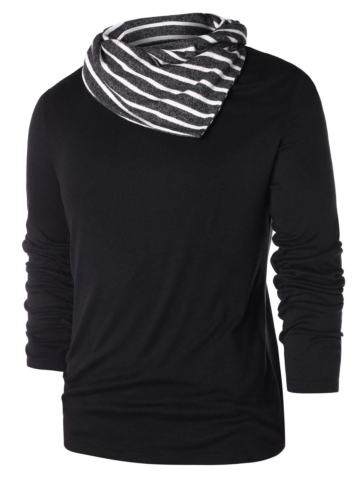 Hot Striped Pile Heap Collar Long Sleeve T-shirt