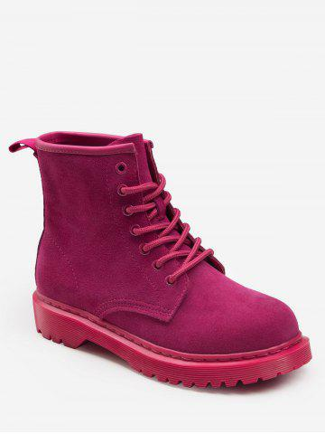 Lace Up Suede Flat Ankle Boots