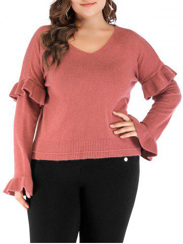 Plus Size Ruffle V Neck Sweater