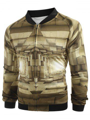 3D Abstract Corridor Print Baseball Jacket