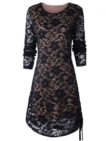 Ruched Side Full Sleeve Tunic Lace Dress