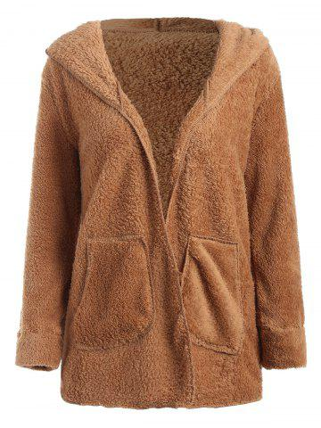 Open Front Hooded Fuzzy Coat
