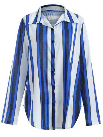 Striped Button Up Curved Shirt