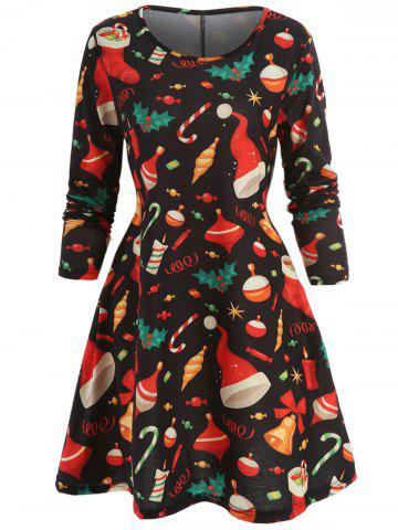 Christmas Printed Mini Trapeze Dress