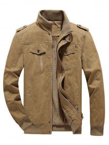 Fluffy Lined Warm Stand Collar Pockets Jacket - KHAKI - 2XL