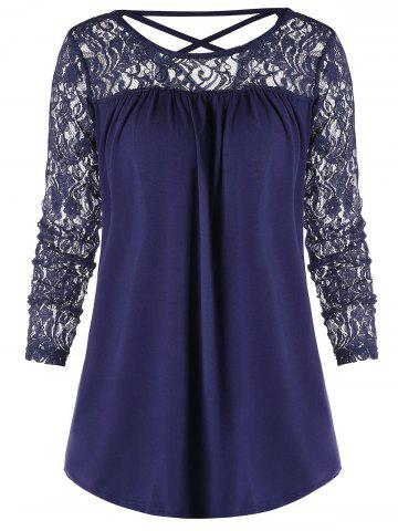 Criss Cross Back Sheer Lace Panel Blouse
