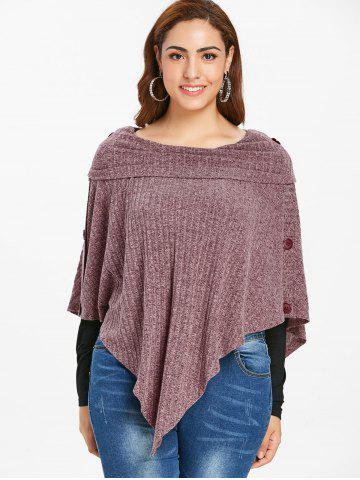 Plus Size Buttons Knit Ribbed Cape with Tee