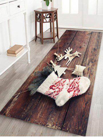 Christmas Sock Elk Wood Grain Pattern Area Rug - MULTI - W24 X L71 INCH