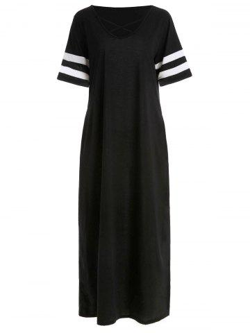 Crisscross Striped Cuff Maxi Dress