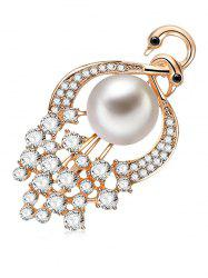 Faux Pearl Peacock Design Brooch -