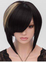 Short Side Bang Colormix Asymmetric Straight Synthetic Wig -