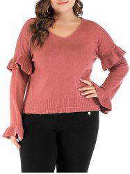 Plus Size Ruffle V Neck Sweater -