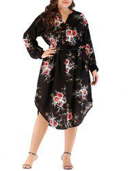 Plus Size Flower Belted Dress -
