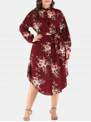 Plus Size Flower Drop Shoulder Belted Dress -