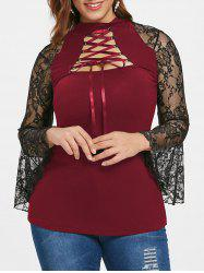 Plus Size Bell Sleeve Lace Up Lacing T-shirt -