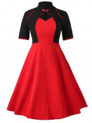 Plus Size Vintage Keyhole Contrast Flare Dress -