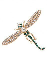 Dragonfly Design Artificial Crystal Brooch -