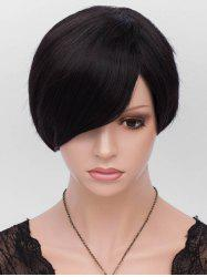 Inclined Fringe Short Straight Heat Resistant Synthetic Wig -