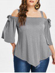 Plus Size Asymmetric Cold Shoulder Top -