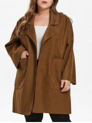 Plus Size Drop Shoulder Felt Coat -
