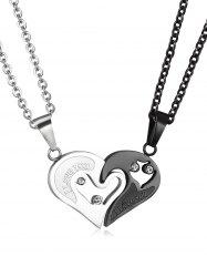 Splicing Stainless Steel Heart Pendant Necklace -