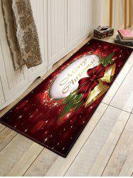 Christmas Bowknot Bells Pattern Anti-skid Water Absorption Area Rug -