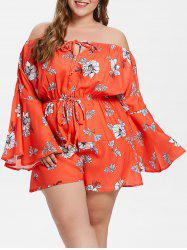 Flare Sleeve Plus Size Floral Print Romper -